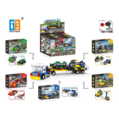 5 in 1 City series car building blocks with shooting function (49-51 pcs) display box 5 types mix