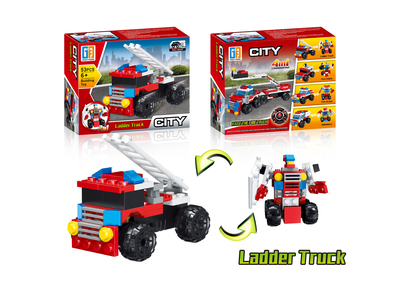 Pull back ladder truck building blocks (53 pcs)