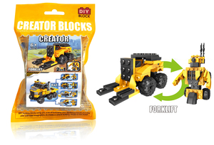 Pull back forklift truck building block(43pcs)