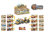 8 in 1 Desert military set building blocks display box (58-75 pcs)