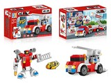 City firefighting set multiple pull back building blocks (96 pcs)