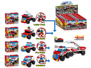 Pull back firefighting set ambulance building blocks(53pcs)