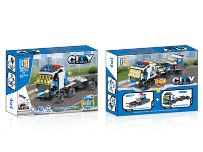 4 in 1 Pull back shooting police set building blocks (206 pcs)