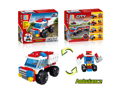 Pull back ambulance building blocks (53 pcs)